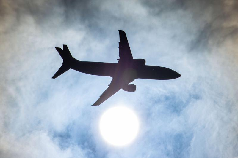 Silhouette of Boeing B737 specifically 737-400 Cargo freight aircraft as seen against the sun during final approach for landing at Thessaloniki SKG LGTS Macedonia International airport in Greece on 1st June 2020. Airports in Greece show reduced commercial passenger air traffic due to the Coronavirus Covid-19 pandemic lockdown of the country but raised cargo traffic with cargo freighter airplanes. (Photo by Nicolas Economou/NurPhoto via Getty Images)