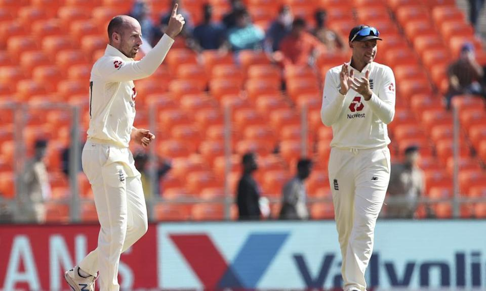 England's Jack Leach, left, finished the series with 18 wickets.