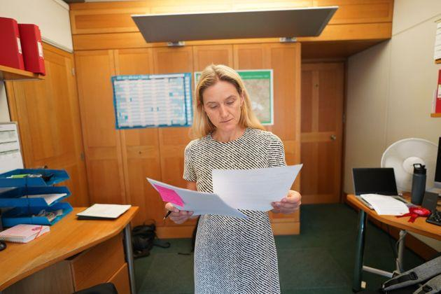 Kim Leadbeater prepares her maiden speech before a debate on the legacy of her sister, the late Jo Cox. (Photo: Stefan RousseauPA)