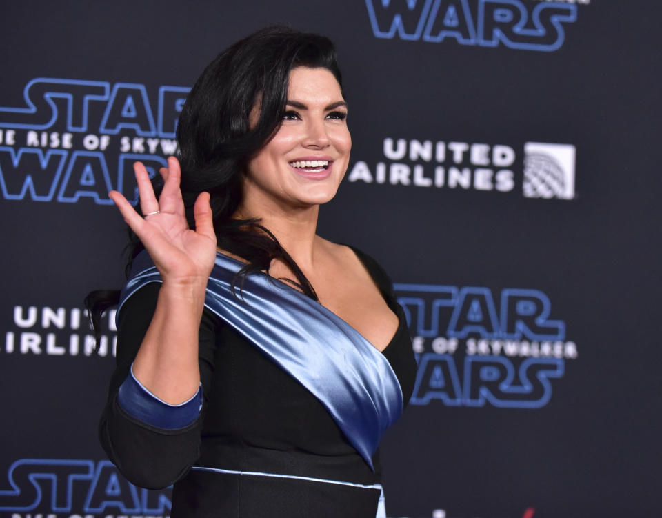 HOLLYWOOD, CALIFORNIA - DECEMBER 16: Gina Carano attends the Premiere of Disney's