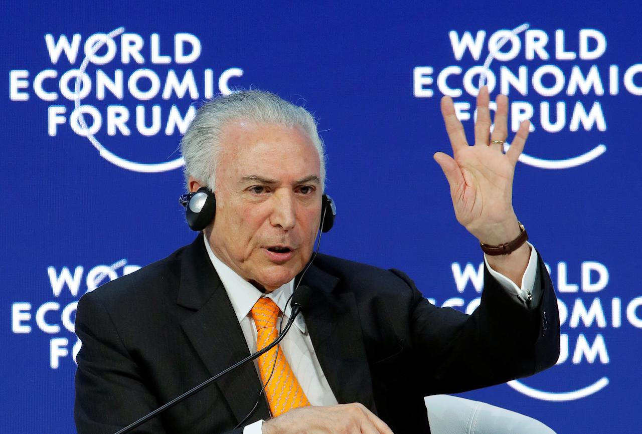 Brazil's President Michel Temer gestures as he speaks during the World Economic Forum (WEF) annual meeting in Davos, Switzerland January 24, 2018.  REUTERS/Denis Balibouse
