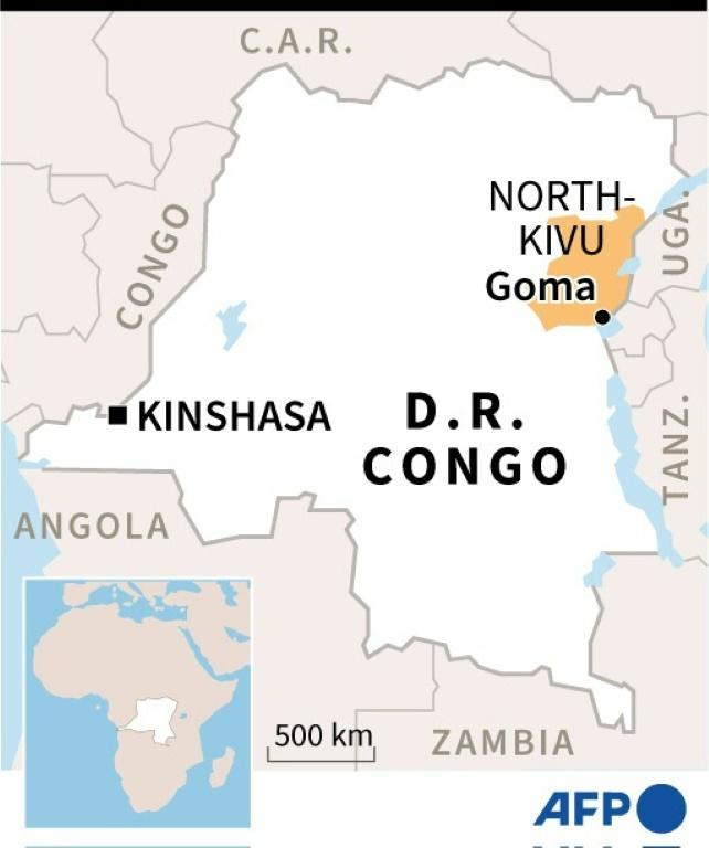 Map of DR Congo locating Goma