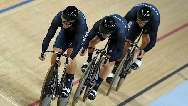 New Zealand eased to team sprint gold at the UCI Track World Championships in Hong Kong on Wednesday, their third gold in four years.