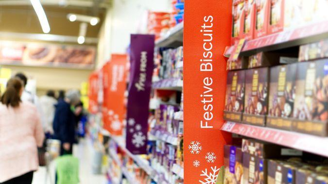 festive biscuits in holiday store shopping