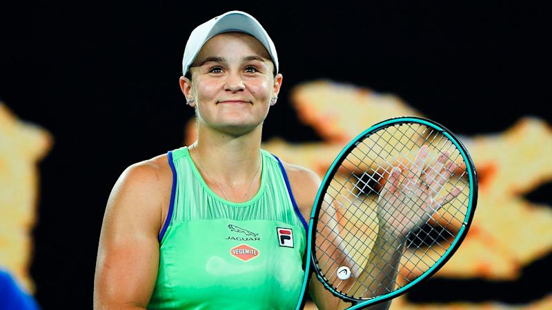 Ash Barty celebrates her first round win at the Australian Open.