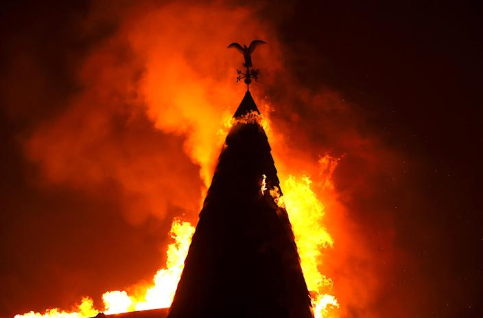 ST. HELENA, CALIFORNIA - SEPTEMBER 27: The steeple at Chateau Boswell Winery burns as the Glass Fire moves through the area on September 27, 2020 in St. Helena, California. The fast moving Glass fire has burned over 1,000 acres and has destroyed homes. Much of Northern California is under a red flag warning for high fire danger through Monday evening. (Photo by Justin Sullivan/Getty Images) ***BESTPIX*** ORG XMIT: 775568437 ORIG FILE ID: 1277067770