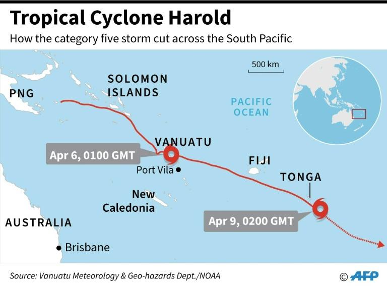 Map showing how Tropical Cyclone Harold cut across the South Pacific this week