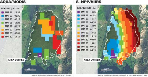 Satellites that track wildfires provide different levels of detail. The image at left, produced from the MODIS instrument aboard NASA's Aqua satellite, uses 1-kilometer pixels (slightly more than half a mile across) to approximate a fire burnin