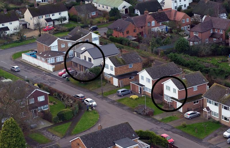 EDITORS NOTE: Houses ringed by PA Picture for easier identification. File photo dated 16/01/2018 of an aerial view of Manor Park in Maids Moreton, Buckinghamshire of the former homes of Peter Farquhar (left) and Ann Moore-Martin (right) as church warden Benjamin Field and magician Martyn Smith are to go on trial accused of plotting the murders of the pensioners who lived three doors from each other in the village.