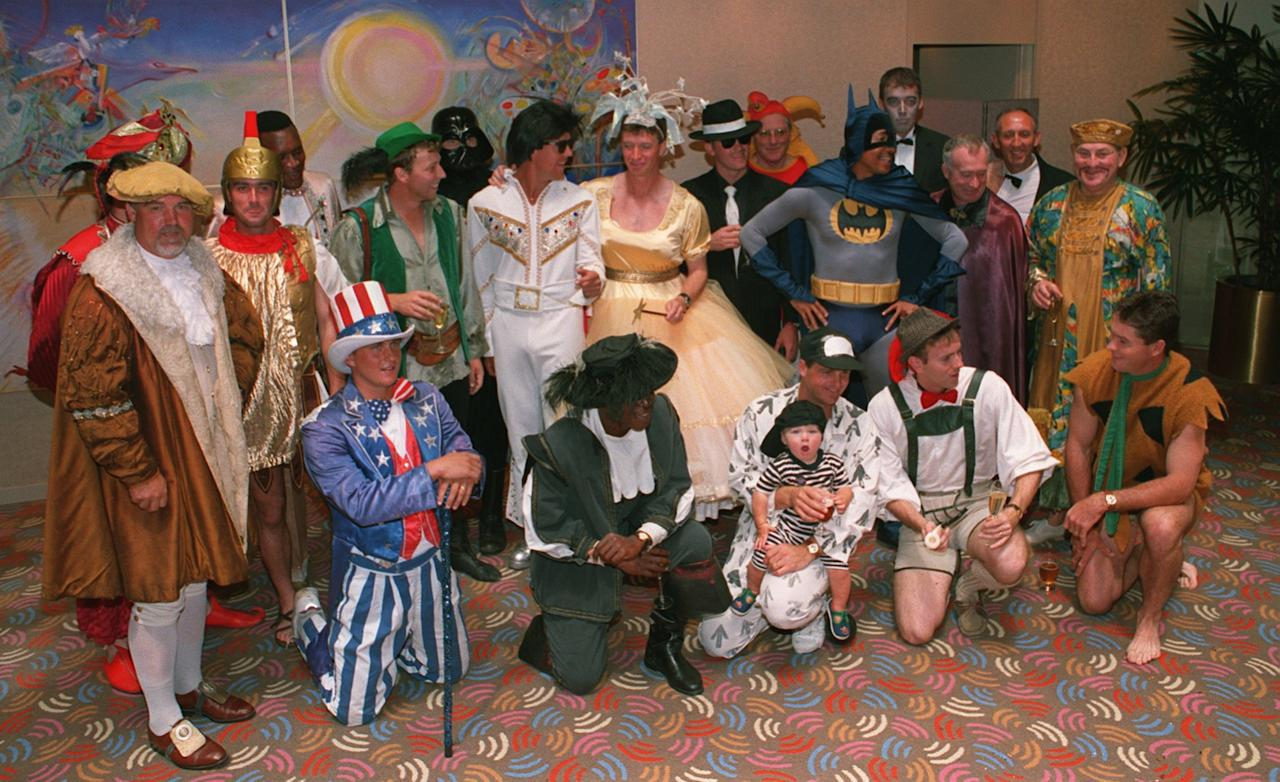 25 DEC 1994:  ENGLAND TEAM  ARE DRESSED UP IN FANCY DRESS FOR THE CHRISTMAS PARTY DURING THE SECOND TEST AGAINST AUSTRALIA IN MELBOURNE. Mandatory Credit: Graham Chadwick/ALLSPORT