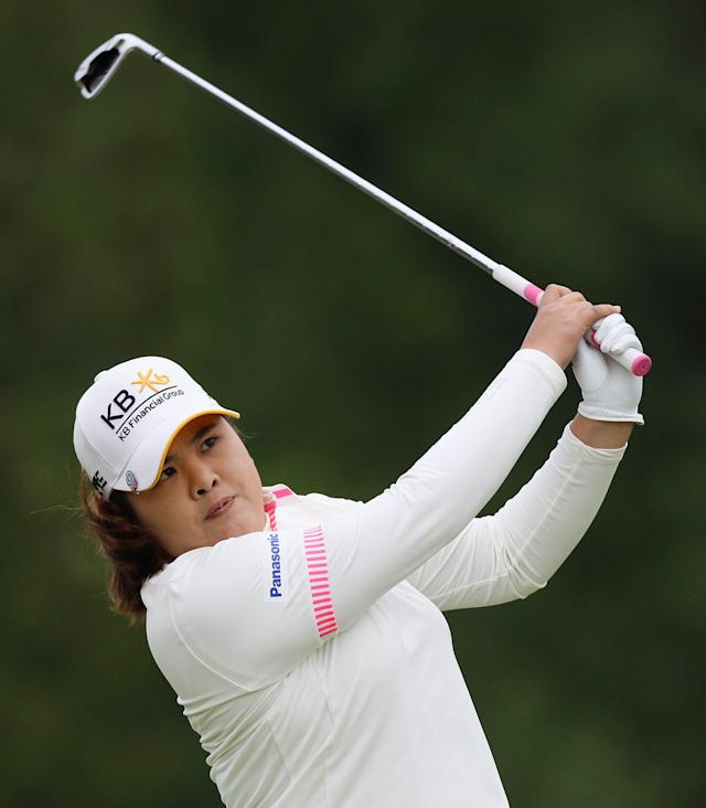 Inbee Park watches her fairway shot on the third hole in the final round of the Manulife Financial LPGA Classic golf tournament Sunday, June 8, 2014, in Waterloo, Ontario. (AP Photo/The Canadian Press, Dave Chidley)