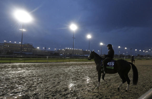 An exercise rider rides Divisidero during morning workouts before the Breeders Cup horse races at Churchill Downs, Thursday, Nov. 1, 2018, in Louisville, Ky. (AP Photo/Darron Cummings)