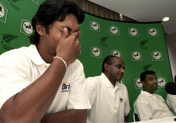 CHRISTCHURCH, NEW ZEALAND - JANUARY 20:  Sri Lankan cricketers LR Kumar Sangakkara, Sanath Jayasuriya and Muttiah Muralitharan speak to media at a press conference in Christchurch, New Zealand, Thursday January 20th 2004, about the effects of the Boxing Day Tsunami on their homeland. The Sri Lankan members of the World XI cricket team arrived in Christchurch today ahead of their one day match against the Black Caps on Saturday.  (Photo by John McCombe/Getty Images)
