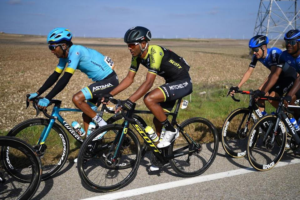 AGUILAR DE CAMPOO SPAIN  OCTOBER 29 Merhawi Kudus Ghebremedhin of Eritrea and Astana Pro Team  Tsgabu Gebremaryam Grmay of Ethiopia and Team Mitchelton  Scott  Ben Dyball of Australia and NTT Pro Cycling Team  Nicholas Dlamini of South Africa and NTT Pro Cycling Team  during the 75th Tour of Spain 2020 Stage 9 a 1577km stage from Cid Campeador Military Base Castrillo del Val to Aguilar de Campoo  lavuelta  LaVuelta20  on October 29 2020 in Aguilar de Campoo Spain Photo by Justin SetterfieldGetty Images