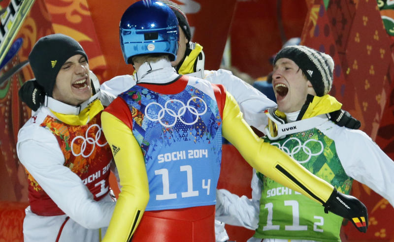 Germany wins team gold in Olympic ski jumping