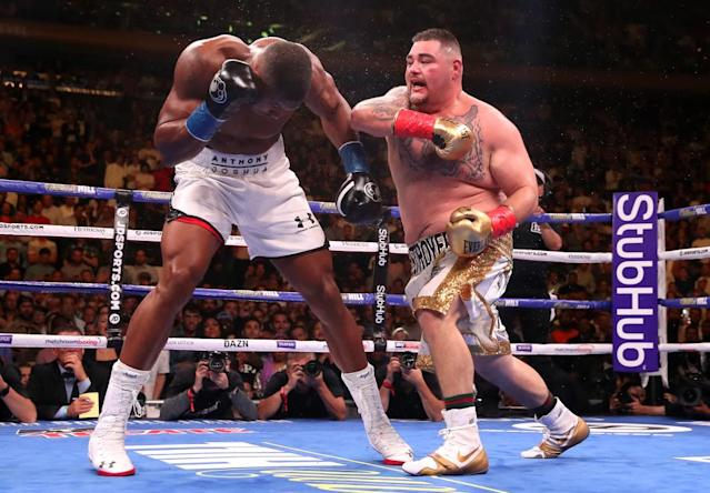"<span class=""element-image__caption"">Andy Ruiz Jr lands a right on Anthony Joshua during is shock victory at Madison Square Garden.</span> <span class=""element-image__credit"">Photograph: Nick Potts/PA Archive</span>"