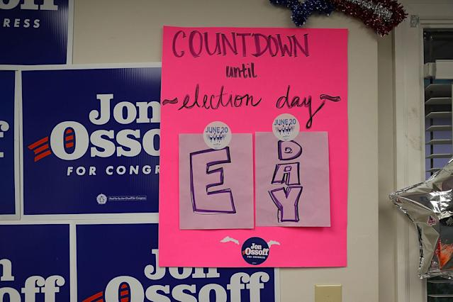 <p>A sign in a campaign office for Democratic candidate Jon Ossoff shows today is E Day indicating that it is Election Day as he runs for Georgia's 6th Congressional District on June 20, 2017 in Tucker, Ga. (Photo: Joe Raedle/Getty Images) </p>