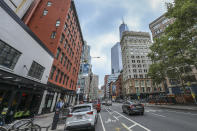 <p>A view from West Broadway and Reade Street, just down the street from the World Trade Center site in New York City, on Sept. 7, 2018. (Photo: Gordon Donovan/Yahoo News) </p>