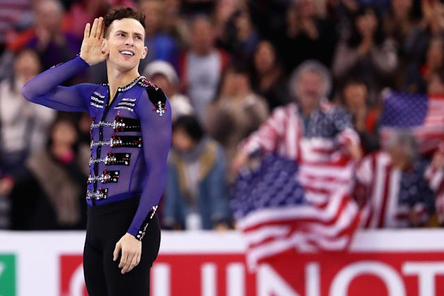 <p>Rippon celebrates his third place skate in the men skating at the 2016 Progressive Skate America. </p>