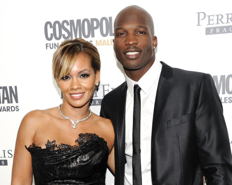 FILE - This March 7, 2011 file photo shows NFL Football player and reality television star Chad Johnson and Evelyn Lozada attending Cosmopolitan Magazine's Fun Fearless Males of 2011 event in New York. Six-time Pro Bowl wide receiver Chad Johnson's divorce is final from reality TV star Evelyn Lozada, a month after his arrest on a domestic battery charge. Johnson's attorney, Adam Swickle, confirmed on Wednesday that the couple who wed on July 4 are now divorced. (AP Photo/Evan Agostini, file)