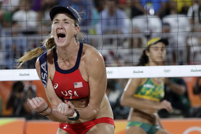 FILE - In this Aug. 17, 2016, file photo, United States' Kerri Walsh Jennings reacts while playing Brazil during the women's beach volleyball bronze medal match of the 2016 Summer Olympics in Rio de Janeiro, Brazil. The five-time Olympian has announced plans for her new beach volleyball circuit that will bring a sports and music festival to eight cities. The p1440 series will open in September in San Jose, California, and then over the next four months visit Las Vegas, San Diego and Huntington Beach, California. Four stops in early 2019 are planned, including Chicago; the others were not announced. (AP Photo/Marcio Jose Sanchez, File)