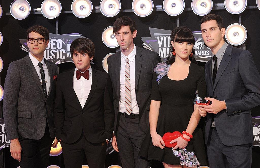 """Alex Suarez, Nate Novarro, Ryland Blackinton, Victoria Asher, and Gabe Saporta -- better known collectively as the band Cobra Starship -- were super serious about the awards ceremony. Jason Merritt/<a href=""""http://www.gettyimages.com/"""" target=""""new"""">GettyImages.com</a> - August 28, 2011"""