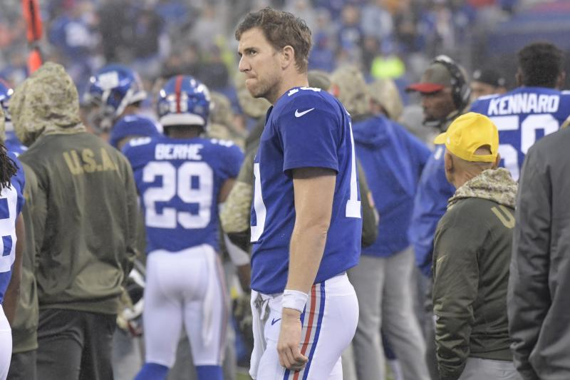 Giants quarterback Eli Manning's job security has been a topic of conversation in New York. (AP)