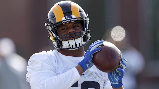 "Rams linebacker Micah Kiser catches a ball during a practice on Feb. 1, 2019 ahead of Super Bowl LIII against the Patriots. <span class=""copyright"">(John Bazemore / Associated Press)</span>"