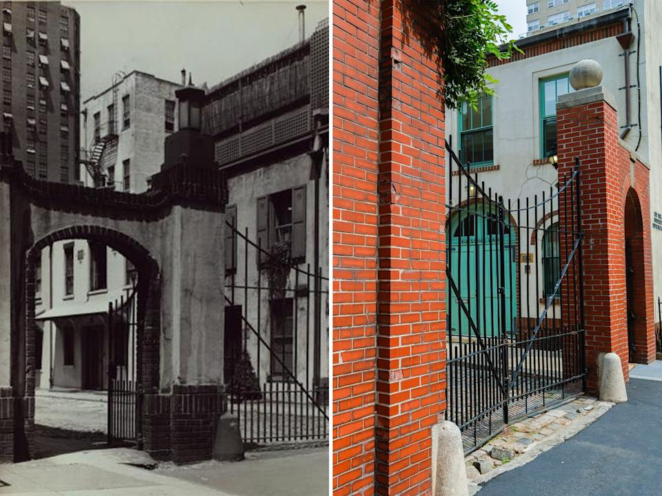 A brick gated block in the mid 1900s and today