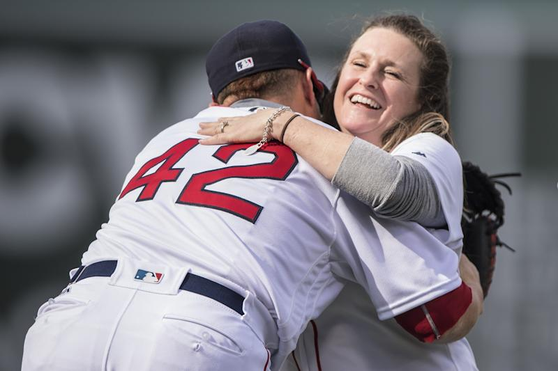 Sdoia reacts after throwing out the ceremonial first pitch at Fenway Park in Boston on April 15, 2017. (Billie Weiss/Boston Red Sox via Getty Images)