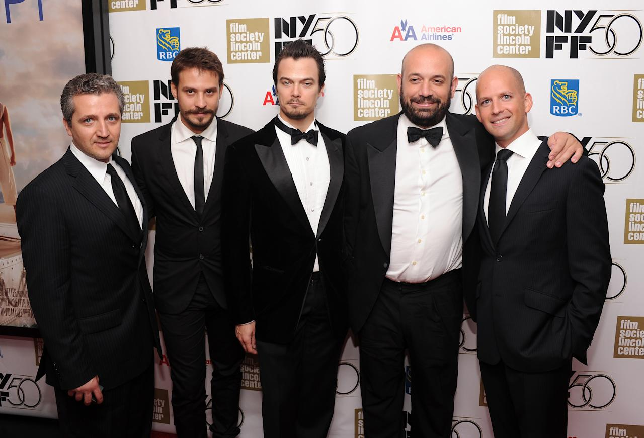 """NEW YORK, NY - SEPTEMBER 28: (L-R) Marius Chira, Barbu Balasoiu, Tiim Hobbs, Ori Dov Gratch, and Antonio Mendez Esparza attend the Opening Night Gala Presentation Of """"Life Of Pi"""" at the 50th New York Film Festival at Alice Tully Hall on September 28, 2012 in New York City.  (Photo by Jamie McCarthy/Getty Images)"""
