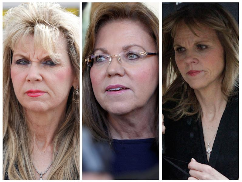 FILE--These are file photos of former state senator Jane Orie, right, from Feb. 29, 2012, her sister Pennsylvania Supreme Court Justice Joan Orie Melvin, center, from May 18, 2012, and their sister Janine Orie, left, from April 7, 2010. All three sisters were found guilty in campaign corruption crimes. (AP Photo/Keith Srakocic/Gene Puskar, FILE)