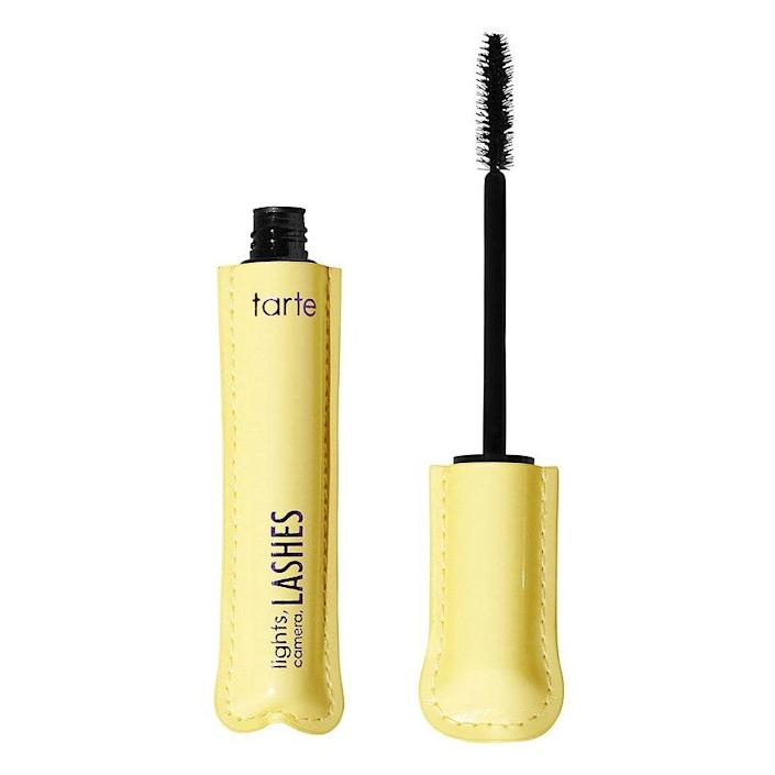 """""""The Tarte Sugar Rush Lights, Camera, Lashes 4-in-1 Mascara gives my lashes length, volume, and makes them look super fluttery. I love to use this alone or layer it, specifically with the <a href=""""https://shop-links.co/1702794613383394246"""" rel=""""nofollow noopener"""" target=""""_blank"""" data-ylk=""""slk:Milk Makeup Kush Mascara"""" class=""""link rapid-noclick-resp"""">Milk Makeup Kush Mascara</a>."""" — <em>Jihan Forbes, digital hair editor</em>"""