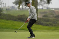 Viktor Hovland, of Norway, reacts to a putt on the eighth hole of the South Course during the second round of the Farmers Insurance Open golf tournament at Torrey Pines, Friday, Jan. 29, 2021, in San Diego. (AP Photo/Gregory Bull)