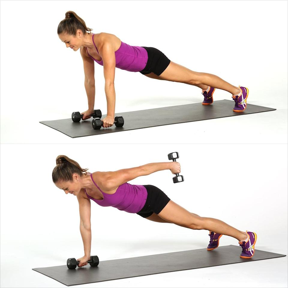 <ul> <li>Start in a plank position holding a dumbbell in each hand. Open your feet wider than hip width for a stronger base of support.</li> <li>Lift your left arm behind you as high as you can. Bring the left arm back into plank to complete one rep. </li> </ul>
