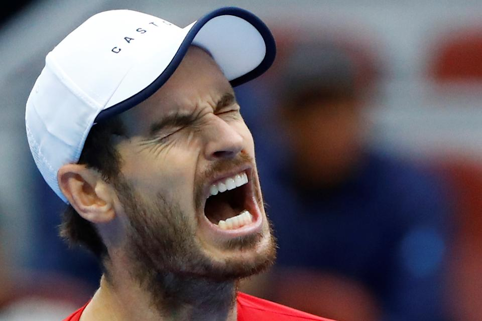 Tennis - China Open - Men's Singles - Quarterfinals - National Tennis Center, Beijing, China - October 4, 2019. Britain's Andy Murray reacts during the match against Dominic Thiem of Austria.   REUTERS/Thomas Peter