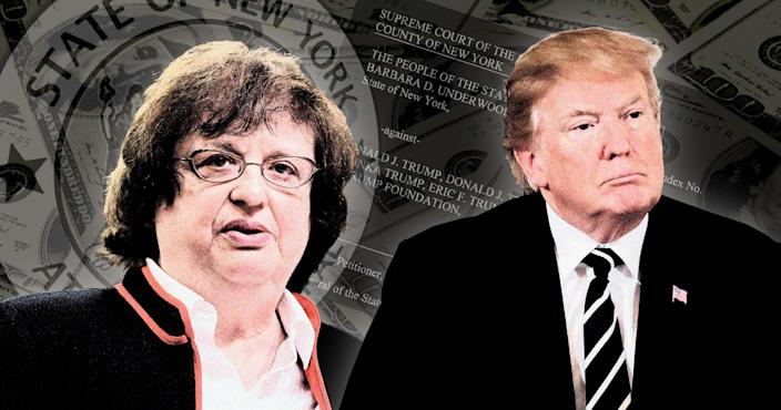 New York Attorney General Barbara D. Underwood and Donald Trump. (Photo Illustration: Yahoo News; photos: AP (2), Getty Images.)