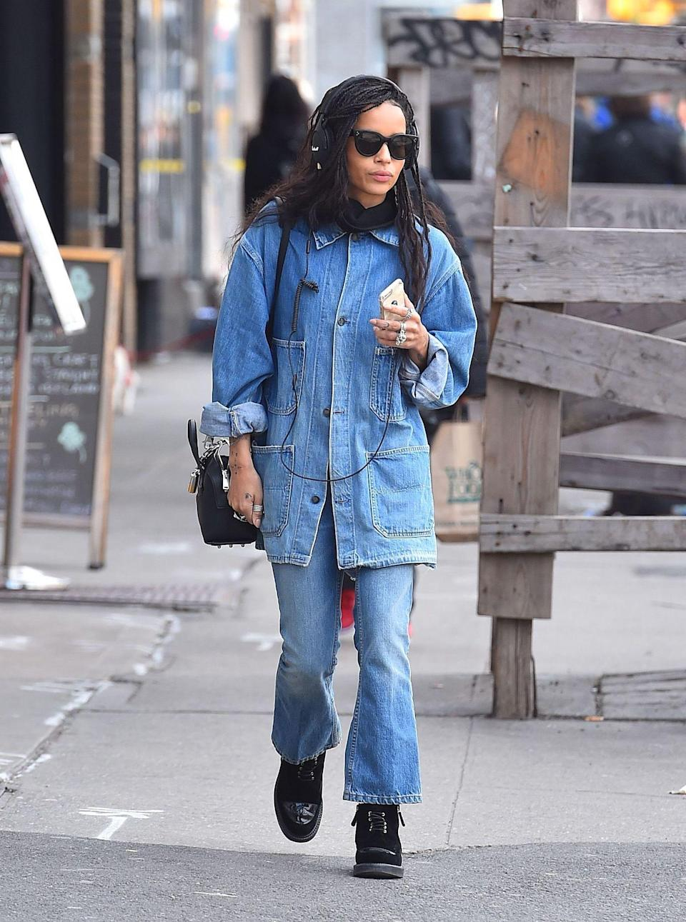 <p>Zoë Kravitz is the muse of the season and we've still not gotten over how cool she looked in head-to-toe denim while out and about in New York. BRB, on the hunt for a pair of kick-flare jeans. <em>[Photo: Rex]</em> </p>