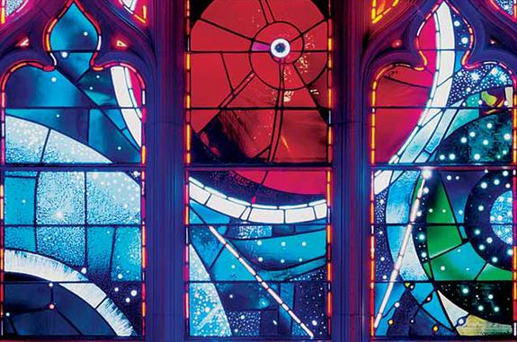 The 'Space Window' at Washington National Cathedral features a moon rock returned to Earth by Neil Armstrong and his Apollo 11 crew. The cathedral hosted a memorial service for Armstrong on Sept. 13, 2012 to mark the passing of the first moonwa