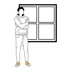 Line drawing of a young man in a hoodie looking out window