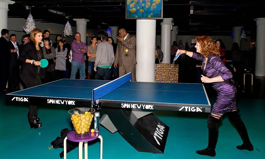 "Sporting rather inappropriate footwear, Jessica Alba faced off against Susan Sarandon in a fierce ping-pong match during the star-studded after party following the ""Susan Sarandon Picture Show"" screening at Sarandon's New York club SPiN Thursday night. Alba tweeted, ""Met 1 of my heroes 2nite at Spin NYC Susan Sarandon!… She's everything. She is the coolest woman ever. And she kicked my butt in pingpong!"" Gilbert Carrasquillo/<a href=""http://www.gettyimages.com/"" target=""new"">GettyImages.com</a> - February 10, 2011"