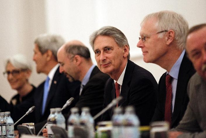 British Foreign Secretary Philip Hammond attends a meeting during nuclear talks at a hotel in Vienna on July 10, 2015 (AFP Photo/Carlos Barria)