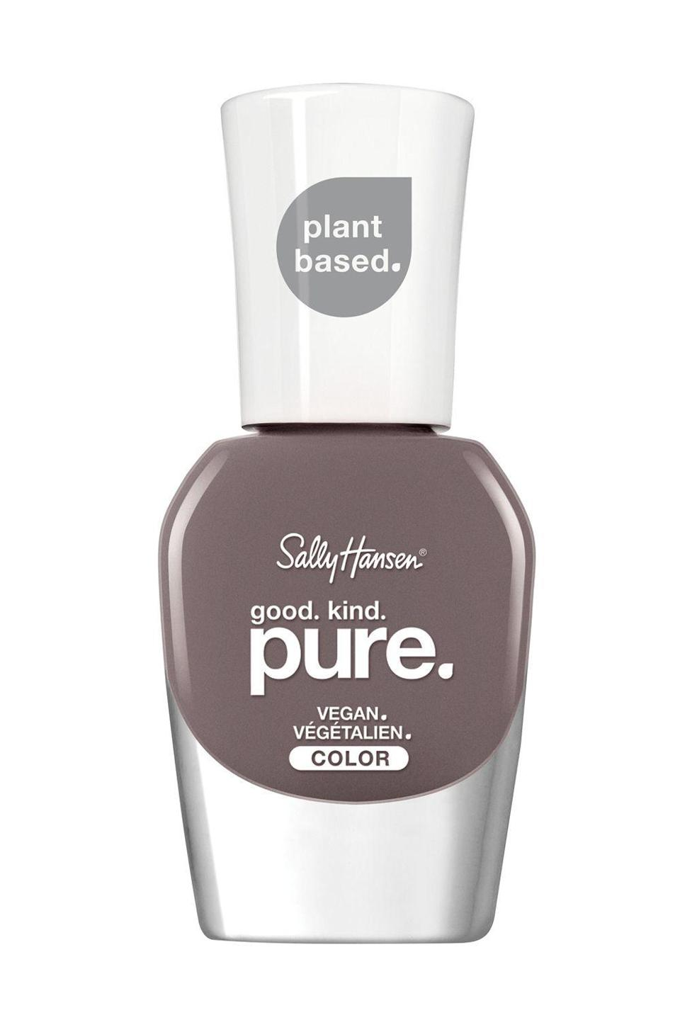 """<p><strong>Sally Hansen</strong></p><p>ulta.com</p><p><strong>$8.99</strong></p><p><a href=""""https://go.redirectingat.com?id=74968X1596630&url=https%3A%2F%2Fwww.ulta.com%2Fgood-kind-pure-nail-color%3FproductId%3Dpimprod2012689&sref=https%3A%2F%2Fwww.cosmopolitan.com%2Fstyle-beauty%2Fbeauty%2Fg33966550%2Fbest-natural-nail-polish%2F"""" rel=""""nofollow noopener"""" target=""""_blank"""" data-ylk=""""slk:Shop Now"""" class=""""link rapid-noclick-resp"""">Shop Now</a></p><p>I've been using <a href=""""https://www.cosmopolitan.com/style-beauty/beauty/g28668988/best-drugstore-skincare/"""" rel=""""nofollow noopener"""" target=""""_blank"""" data-ylk=""""slk:drugstore"""" class=""""link rapid-noclick-resp"""">drugstore</a> nail polish brand Sally Hansen for years, so when I heard they were launching a plant-based 16-free (!!) nail polish, you better believe I was stoked. This slate-gray <strong>wears just as well as the brand's other traditional polishes</strong>, but is made without any of the questionable ingredients.</p>"""