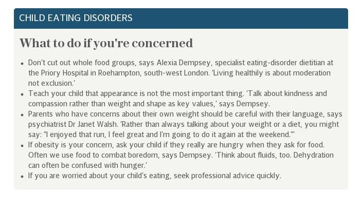 Child eating disorders anorexia obesity advice