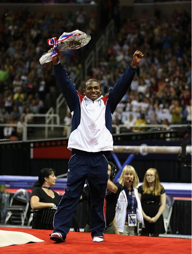 SAN JOSE, CA - JULY 01: John Orozco waves to the crowd after being named to the US Gymnastic team going to the 2012 London Olympics at HP Pavilion on July 1, 2012 in San Jose, California. (Photo by Ezra Shaw/Getty Images)
