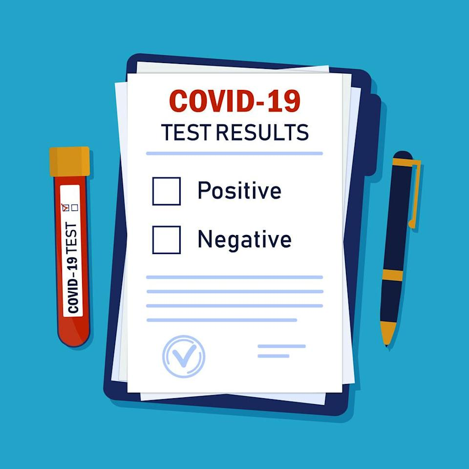 A sample sheet of paper displaying COVID test results