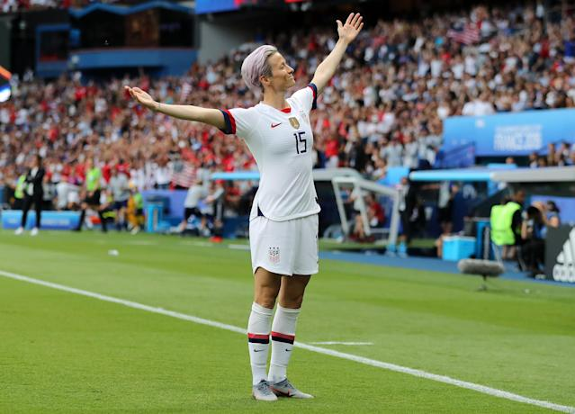 Megan Rapinoe of the USA celebrates after scoring her team's first goal during the 2019 FIFA Women's World Cup France Quarter Final match between France and USA at Parc des Princes on June 28, 2019 in Paris, France. (Photo by Elsa/Getty Images)