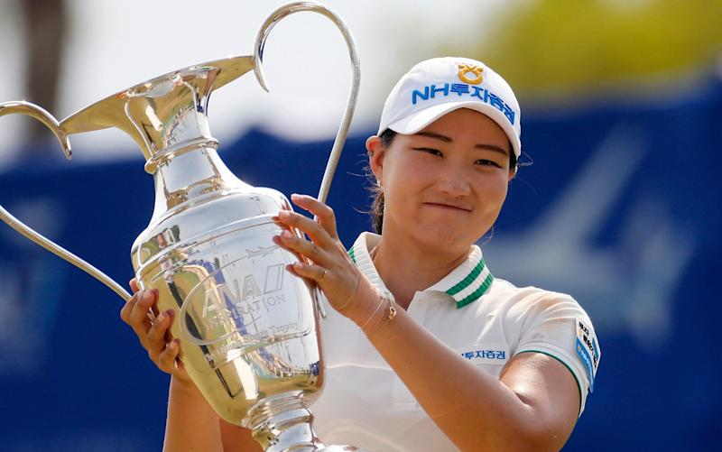 Mirim Lee with her trophy - World No 94 Mirim Lee stuns Nelly Korda and Brooke Henderson to clinch Ana Inspiration title - AP PHOTO