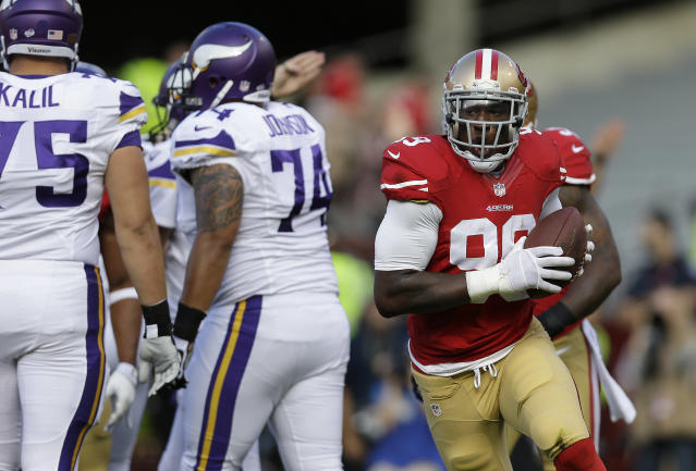 San Francisco 49ers linebacker Aldon Smith (99) celebrates after recovering a fumble by Minnesota Vikings quarterback Christian Ponder during the first quarter of an NFL preseason football game in San Francisco, Sunday, Aug. 25, 2013. (AP Photo/Marcio Jose Sanchez)