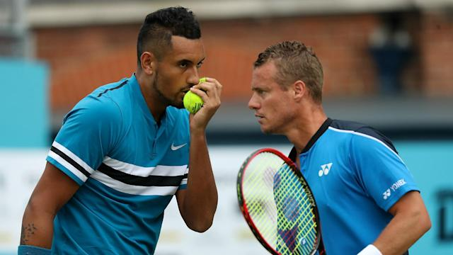 Nick Kyrgios is back in Australia's Davis Cup team, much to the delight of captain Lleyton Hewitt.